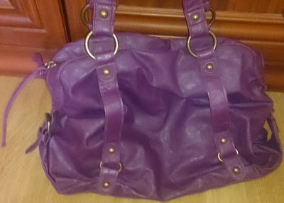 стильна фіолетова вмістка сумка еко шкіра