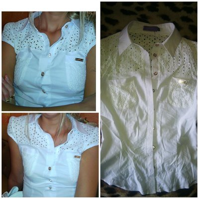 Белая блузка стрейч-коттон
