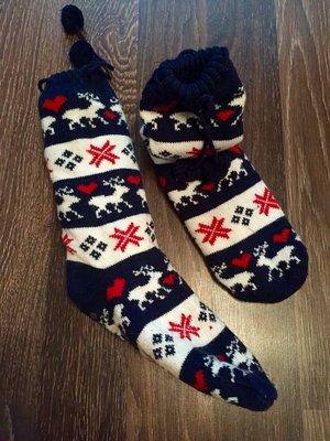 Тёплые носки гольфы с мехом оргамент олени новые с тормозами яркие красивые
