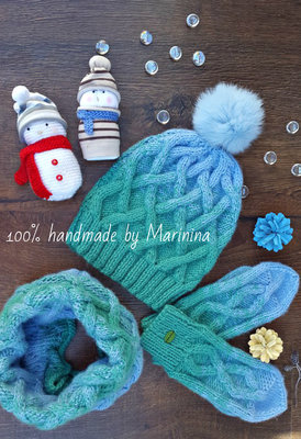 Набор шапка снуд и варежки под заказ