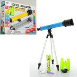 Набор игровой 7006A телескоп, бинокль, лупа, калейдоскоп, 2 цвета, в кор-ке, 55-39-8см